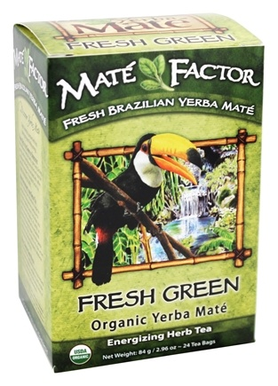 Mate Factor - Organic Yerba Mate Energizing Herb Tea Fresh Green - 24 Tea Bags