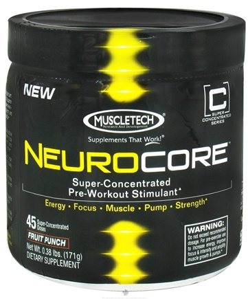 DROPPED: Muscletech Products - NeuroCore Super-Concentrated Pre-Workout Stimulant Fruit Punch 45 Servings - 0.38 lbs. CLEARANCE PRICED