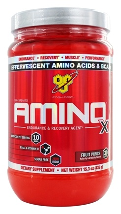 BSN - Amino X BCAA Powder Endurance and Recovery Agent Fruit Punch - 15.3 oz.