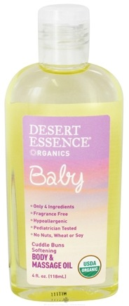 DROPPED: Desert Essence - Baby Cuddle Buns Softening Body & Massage Oil - 4 oz. CLEARANCE PRICED