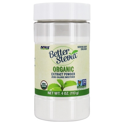 NOW Foods - Better Stevia Zero Calorie Sweetener Certified Organic Extract Powder - 4 oz.