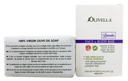 Olivella - Virgin Olive Oil Face & Body Bar Soap Lavender - 5.29 oz.