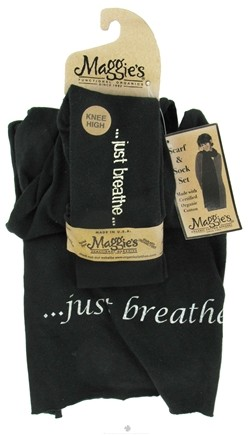 DROPPED: Maggie's Organics - Scarf & Sock Organic Gift Set Just Breathe Black - CLEARANCE PRICED