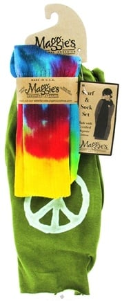 DROPPED: Maggie's Organics - Scarf & Sock Organic Gift Set Tie Dye Olive - CLEARANCE PRICED