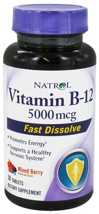 DROPPED: Natrol - Vitamin B12 Fast Dissolve Mixed Berry 5000 mcg. - 30 Tablets