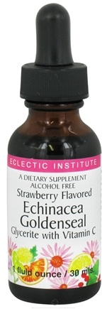DROPPED: Eclectic Institute - Echinacea Goldenseal Alcohol Free Glycerite with Vitamin C Strawberry - 1 oz. CLEARANCE PRICED