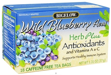 DROPPED: Bigelow Tea - Herb Plus Antioxidants and Vitamins A & C Wild Blueberry Acai - 18 Tea Bags CLEARANCE PRICED