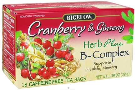 DROPPED: Bigelow Tea - Herb Plus B-Complex Cranberry & Ginseng - 18 Tea Bags CLEARANCE PRICED