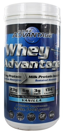 DROPPED: Pure Advantage - Whey Advantage Vanilla Flavor - 2.2 lbs. CLEARANCE PRICED