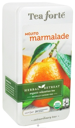 DROPPED: Tea Forte - Herbal Retreat Organic Relaxation Tea Naturally Caffeine Free Mojito Marmalade - 20 Tea Bags CLEARANCE PRICED
