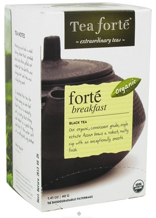 DROPPED: Tea Forte - Black Tea Organic Filterbags Forte Breakfast - 16 Tea Bags CLEARANCE PRICED