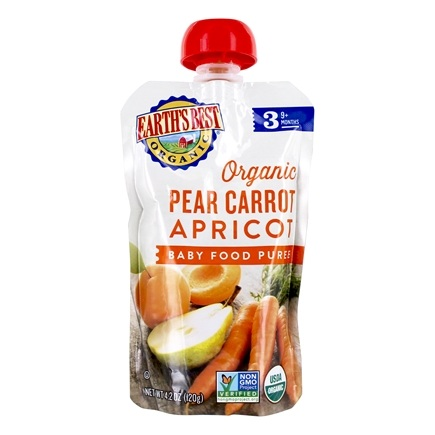 DROPPED: Earth's Best - Organic Baby Food Puree Pear Carrot Apricot Flavor - 4.2 oz. CLEARANCE PRICED
