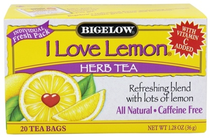 Bigelow Tea - Herb Tea with Vitamin C All Natural Caffeine Free I Love Lemon - 20 Tea Bags