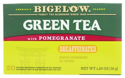 Bigelow Tea - Green Tea Decaffeinated with Pomegranate - 20 Tea Bags