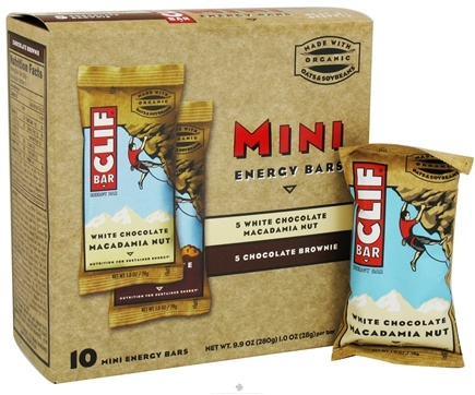 DROPPED: Clif Bar - Mini Energy Bars Variety Pack (White Chocolate Macadamia Nut, Chocolate Brownie) - 10 Bars