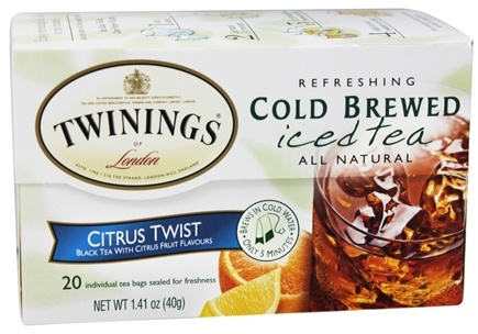 Twinings of London - Iced Tea Cold Brewed Refreshing All Natural Citrus Twist - 20 Tea Bags