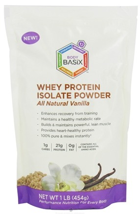 DROPPED: Body Basix - Whey Protein Isolate Powder All Natural Vanilla - 1 lb. CLEARANCE PRICED
