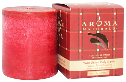 """DROPPED: Aroma Naturals - Peace Ruby Holiday Naturally Blended Pillar Eco-Candle 3"""" x 3.5"""" Orange, Clove and Cinnamon"""