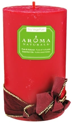 "Aroma Naturals - Peace Ruby Holiday Soy VegePure Pillar Eco-Candle 3"" x 5"" Orange, Clove and Cinnamon"