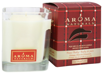 Aroma Naturals - Peace Ruby Holiday Soy VegePure Square Glass Eco-Candle Orange, Clove and Cinnamon