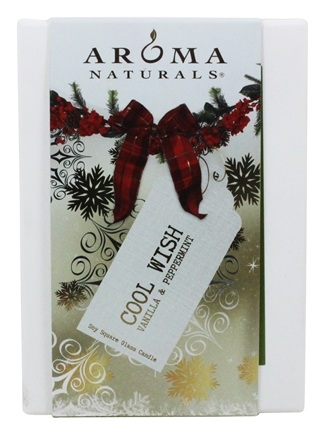 """Aroma Naturals - Wish Holiday Naturally Blended Pillar Eco-Candle 2.75"""" x 5"""" Peppermint & Vanilla"""