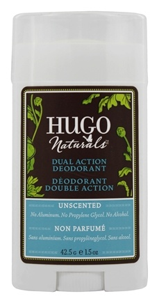 DROPPED: Hugo Naturals - Dual Action Deodorant Safe For Sensitive Skin Unscented - 1.5 oz.