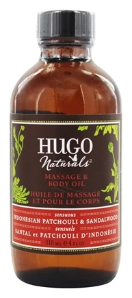 Hugo Naturals - Massage & Body Oil Sensuous Indonesian Patchouli & Sandalwood - 4 oz.