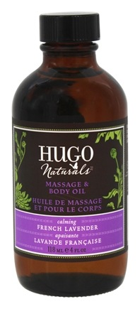 DROPPED: Hugo Naturals - Massage & Body Oil Calming French Lavender - 4 oz. CLEARANCE PRICED