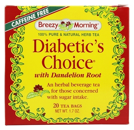 Breezy Morning Tea - Diabetic's Choice Herb Tea 100% Pure & Natural Caffeine Free - 20 Tea Bags