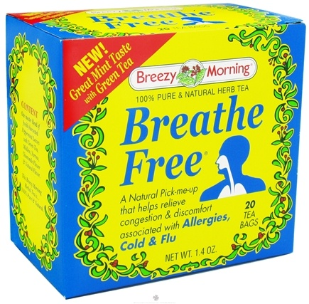 DROPPED: Breezy Morning Tea - Breathe Free Herb Tea 100% Pure & Natural Caffeine Free - 20 Tea Bags CLEARANCE PRICED
