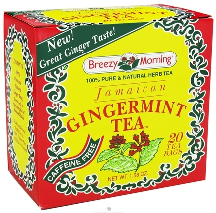 DROPPED: Breezy Morning Tea - Herb Tea 100% Pure & Natural Caffeine Free Jamaican Gingermint - 20 Tea Bags CLEARANCE PRICED