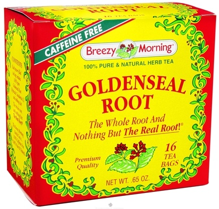 DROPPED: Breezy Morning Tea - Goldenseal Root Tea 100% Pure & Natural Herb Tea Caffeine Free - 16 Tea Bags