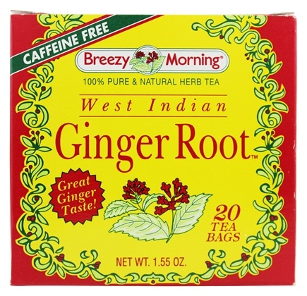 DROPPED: Breezy Morning Tea - West Indian Ginger Tea 100% Pure & Natural Caffeine Free - 20 Tea Bags