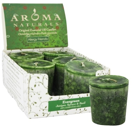 Aroma Naturals - Evergreen Holiday Naturally Blended Votive Eco-Candle Juniper, Spruce & Basil
