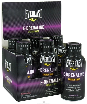 DROPPED: Everlast Sports Nutrition - E-Drenaline Energy Shot Berry Rush - 2 oz. CLEARANCE PRICED