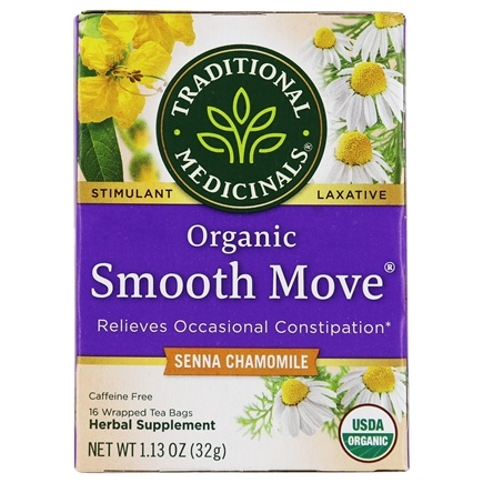 Traditional Medicinals - Organic Smooth Move Herbal Tea with Chamomile Caffeine Free - 16 Tea Bags