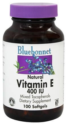 Bluebonnet Nutrition - Natural Vitamin E Mixed Tocopherols 400 IU - 100 Softgels