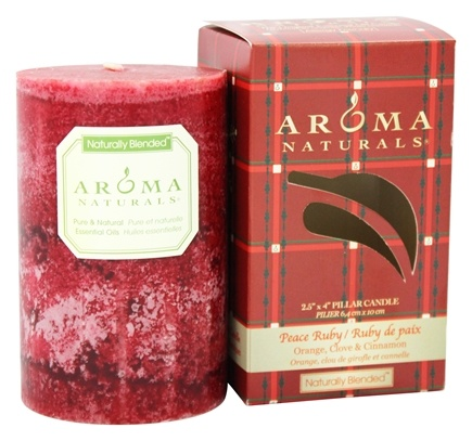 "Aroma Naturals - Peace Ruby Holiday Naturally Blended Pillar Eco-Candle 2.5"" x 4"" Orange, Clove and Cinnamon"