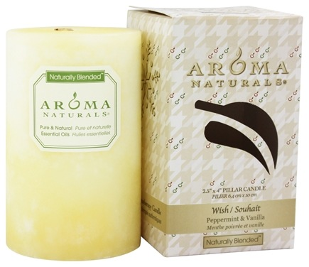 Aroma Naturals - Wish Holiday Naturally Blended Pillar Eco-Candle Peppermint & Vanilla