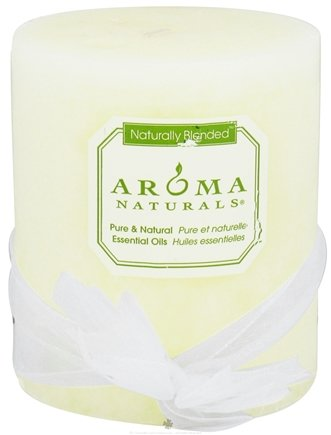 "Aroma Naturals - Wish Holiday Naturally Blended Pillar Eco-Candle 3"" x 3.5"" Peppermint & Vanilla"