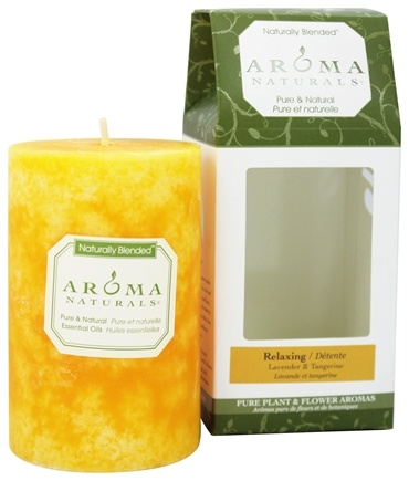 "Aroma Naturals - Relaxing Naturally Blended Pillar Eco-Candle 2.5"" x 4"" Lavender & Tangerine"