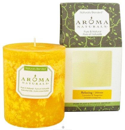 """DROPPED: Aroma Naturals - Relaxing Naturally Blended Pillar Eco-Candle 3"""" x 3.5"""" Lavender & Tangerine - CLEARANCE PRICED"""
