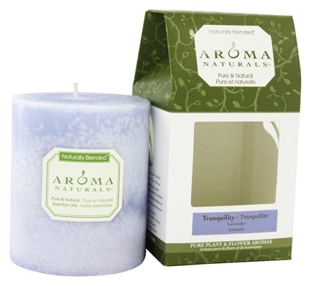 "Aroma Naturals - Tranquility Naturally Blended Pillar Eco-Candle 3"" x 3.5"" Wildcrafted Lavender"