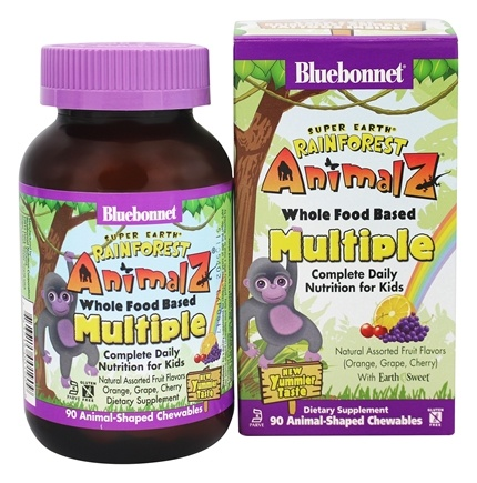 Bluebonnet Nutrition - Super Earth Rainforest Animalz Whole Food Based Multiple Natural Assorted Fruit Flavors (Orange, Grape, Cherry) with EarthSweet - 90 Chewables