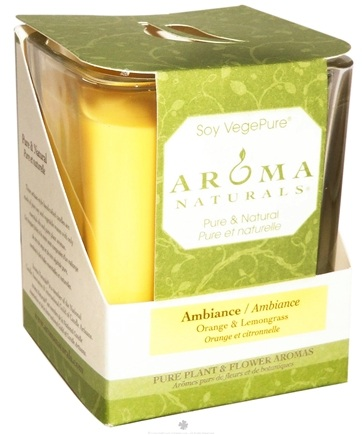 DROPPED: Aroma Naturals - Ambiance Soy VegePure Square Glass Eco-Candle Orange & Lemongrass - CLEARANCE PRICED