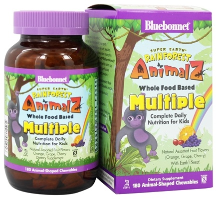 Bluebonnet Nutrition - Animalz Whole Food Based Multiple Natural Assorted Fruit Flavors (Orange, Grape, Cherry) with EarthSweet - 180 Chewables