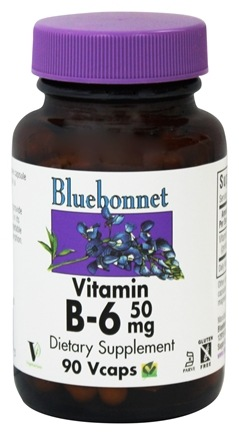 Bluebonnet Nutrition - Vitamin B-6 50 mg. - 90 Vegetarian Capsules