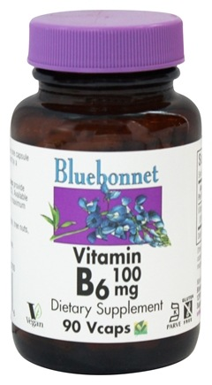 Bluebonnet Nutrition - Vitamin B-6 100 mg. - 90 Vegetarian Capsules
