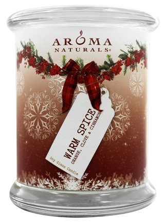 "Aroma Naturals - Peace Ruby Holiday Soy VegePure Pillar Eco-Candle 3"" x 3.5"" Orange, Clove and Cinnamon"