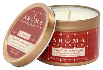 Aroma Naturals - Peace Ruby Holiday Soy VegePure Small Travel Tin Eco-Candle Orange, Clove and Cinnamon